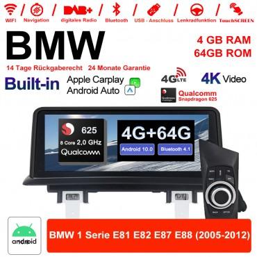 """10.25"""" Qualcomm Snapdragon 625 A53 2.0 GHZ Android 10.0 4G LTE Autoradio USB WiFi Navi Carplay Für BMW E81 E82 E87 E88 Android Auto"""