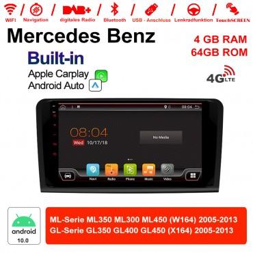 9 Zoll Android 10.0 Autoradio / Multimedia 4GB RAM 64GB ROM Für BENZ ML350 ML300 ML450 W164 GL350 GL400 GL450 Mit DSP Built-in Carplay Android Auto