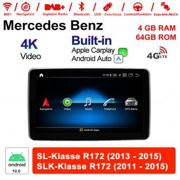 9 Zoll Qualcomm Snapdragon 625 (MSM8953) 8 Core Android 10.0 4G LTE Autoradio / Multimedia 4GB RAM 64GB ROM Für Mercedes Benz SL / SLK-Klasse R172 Mit WiFi NAVI Bluetooth USB Built-in CarPlay Android AUTO