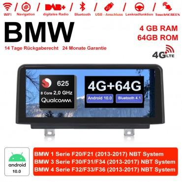 10.25 Zoll Qualcomm Snapdragon 625 (MSM8953) 8 Core A53 2.0 GHZ Android 10.0 4G LTE Autoradio / Multimedia 4GB RAM 64GB ROM Für BMW 1 Serie F20/F21 3 Serie F30/F31/F34 4 Serie F32/F33/F36 NBT Mit WiFi NAVI Bluetooth USB