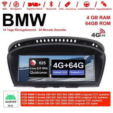 10.25 Zoll Qualcomm Snapdragon 625 (MSM8953) 8 Core A53 2.0 GHZ Android 10.0 4G LTE Autoradio / Multimedia 4GB RAM 64GB ROM Für BMW 5 Serie E60 E61 E63 E64 BMW 3 Serie E90 E91 E92 CCC /CIC Mit WiFi NAVI Bluetooth USB