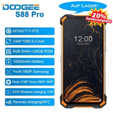 DOOGEE S88 Pro 6,3'' IP68 / IP69K Android 10 Helio P70 Octa Core 6 GB RAM 128 GB ROM Robustes Telefon 10000 mAh Akku Schnellladung NFC