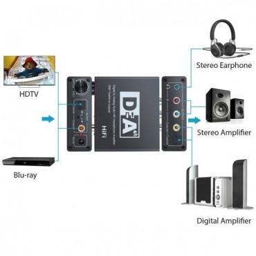 5V 192kHz Digital Optisch Koaxial Toslink zu Analog Audio Konverter RCA-L / R Dc