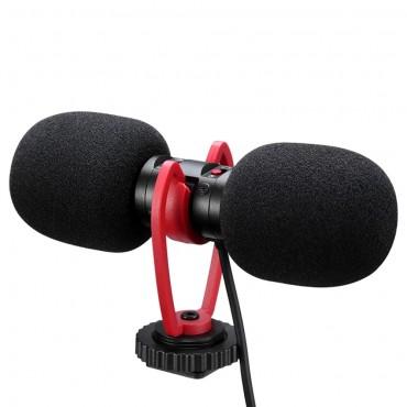 SAIREN T-MIC Doppelkopf-Minimikrofon Super-Cardioid Stereo Record Mic 3,5 mm TRRS-Stecker für DSLR-Kamera Smartphone Video Vlog