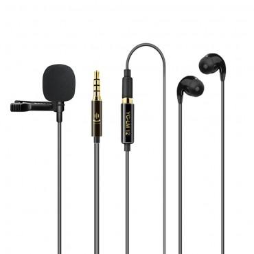 Lavalier Mikrofon Clip-on Omnidirektionales Mikrofon für Live-Streaming-Vorträge Konferenz Computerüberwachungsfunktion für Mobiltelefone mit Kopfhörer-Tragetasche