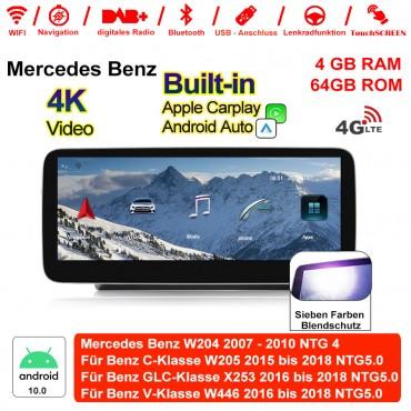 10,25 Zoll Qualcomm Snapdragon 625 8 Core Android 10.0 4G LTE Autoradio / Multimedia 4GB RAM 64GB ROM Für Mercedes Benz C GLC V Class 2015 - 2018 Mit WiFi NAVI Bluetooth USB,Built-in Carplay