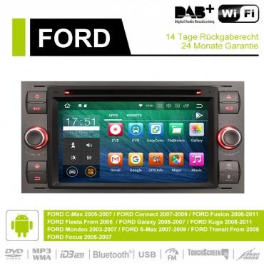 7 Zoll Android 9.0 Autoradio / Multimedia 2GB RAM 16GB ROM Für Ford Focus Fiesta Focus Fusion C/S-Max Transit Mondeo Farbe Grau