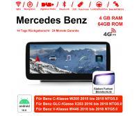 10,25 Zoll Snapdragon 625 MSM8953 8 Core Android 10.0 4G LTE Autoradio / Multimedia 4GB RAM 64GB ROM Für Mercedes Benz C GLC V Class 2015 - 2018 Mit WiFi NAVI Bluetooth USB,Built-in Carplay